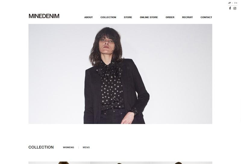 MINEDENIM オフィシャルブランドサイトのイメージ